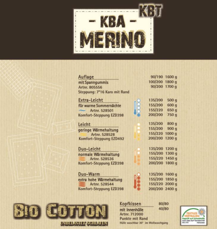 Bio Merino-Steppdecke - Garanta Natur KBA und KBT - Duo-Leicht